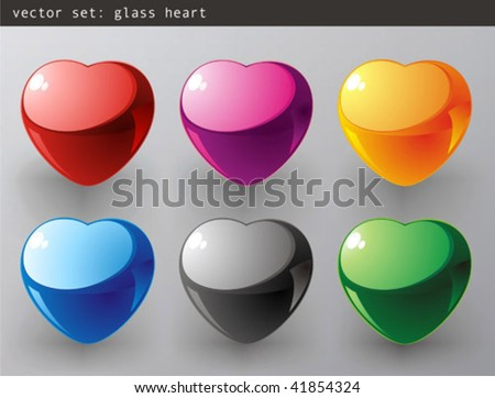 Vector set : 3d Color vector heart - stock vector