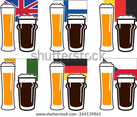 vector set dark and light beer in glasses on national european flags - stock vector
