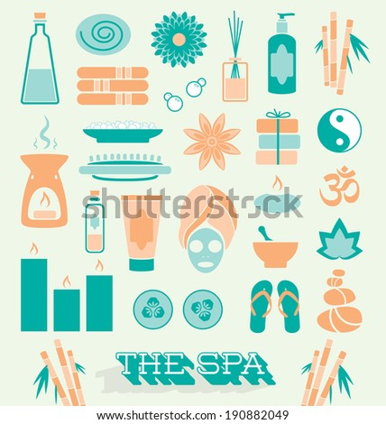 Vector Set: Day at The Spa Icons and Symbols - stock vector