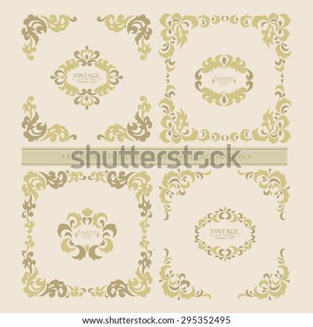 Vector set  decorative floral elements. Page decoration. - stock vector