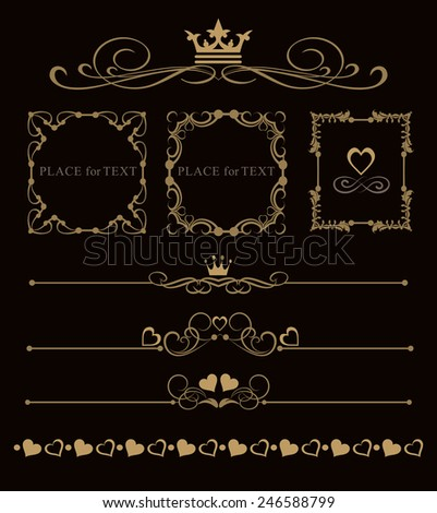 vector set decorative frames and scroll, vintage elements for design: wedding cards, invitations, web pages - stock vector