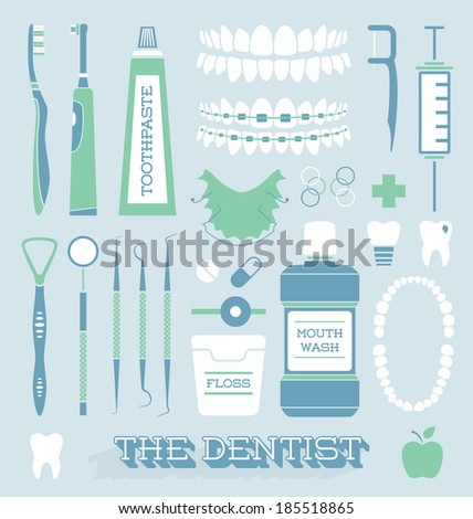 Vector Set: Dentist and Tooth Care Icons - stock vector