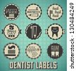 Vector Set: Dentist and Tooth Labels and Icons - stock vector