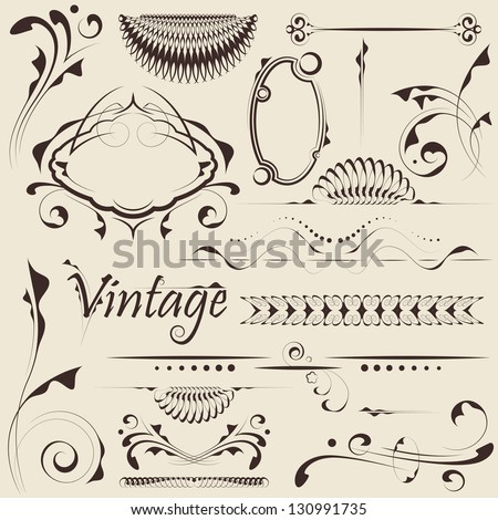 Vector set: design elements and page decoration - stock vector
