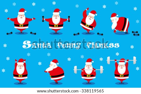 Vector set design elements funny Santa Claus different character does morning exercises with dumbbells and barbell isolated on blue background - stock vector