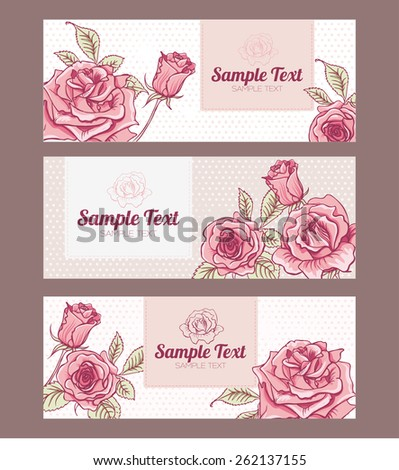 Vector Set Design Vintage Cards with Roses - stock vector