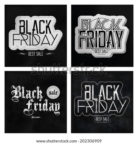 Vector Set Different Black Friday Stickers Isolated