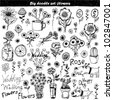 Vector set: doodle flowers - stock photo