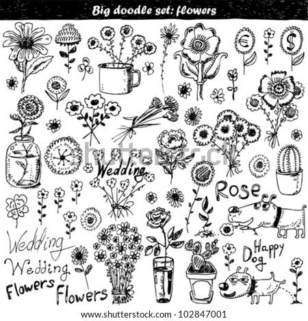 Vector set: doodle flowers - stock vector