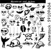 vector set : doodle - skull - bone - stock vector