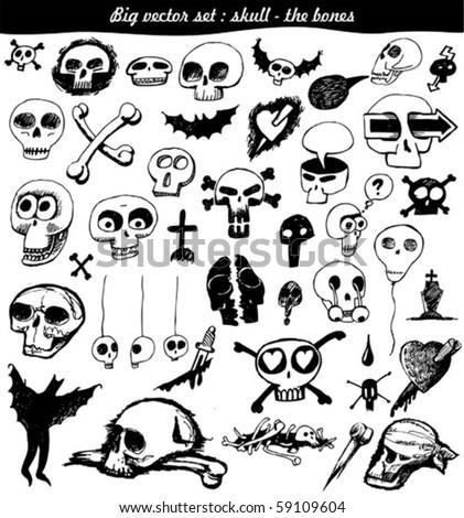 vector set : doodle - skull - bone - stock vector