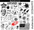 Vector set: doodle star - stock vector