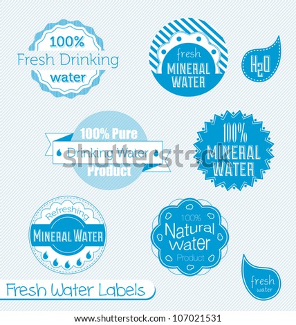 Vector Set: Drinking and Mineral Water Labels - stock vector