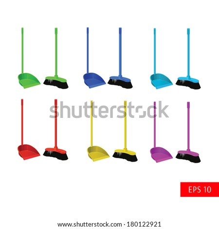 vector set dustpan and broom for cleaning