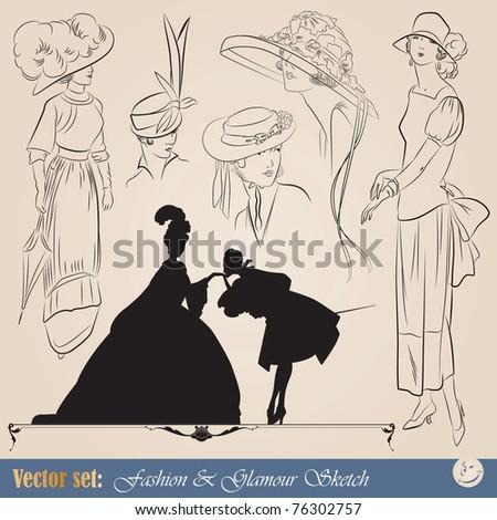 vector set: elegant vintage fashion illustrations, sketch and portraits - stock vector