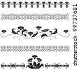 Vector set elements floral ornaments.Black, white - stock vector