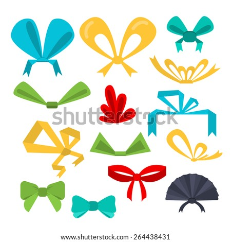 Vector set festive bows in different shapes and colors. Flat design.  - stock vector