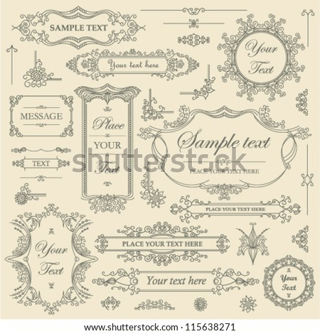 Vector SET - filigree ornament frames - stock vector