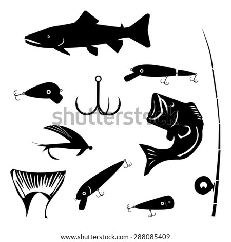 vector set fishing and angling symbols silhouettes in black - stock vector