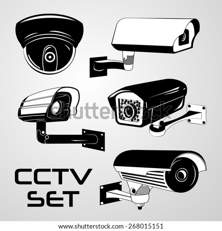 Vector Set: Five Black & White Security CCTV Cameras