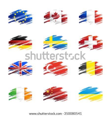 vector set flags in the form traces brush isolated