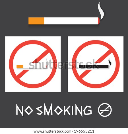 Vector set flat design icons of No smoking sign. Stop smoking symbol for public places.