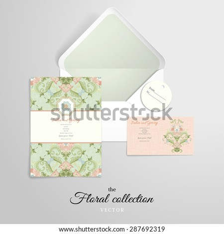 Vector set for design. Beautiful floral pattern in vintage style. Imitation canvas texture.  - stock vector