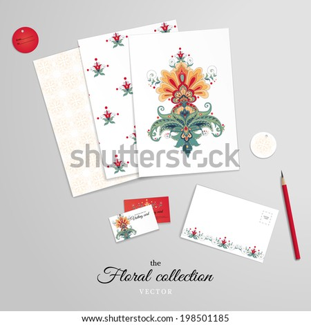Vector set for design. Corporate design or card making and scrapbooking. Beautiful floral pattern in oriental style. Paper and various cards. Pencil. Realistic shadows.