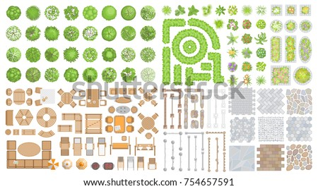 Vector Set For Landscape Design. Outdoor Furniture, Architectural Elements,  Trees And Plants.