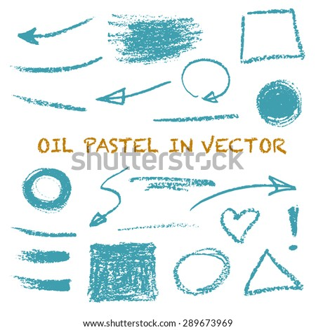Vector set for your design with various hand drawn oil pastel textured elements: circles, arrows, heart, lines, backdrops. - stock vector