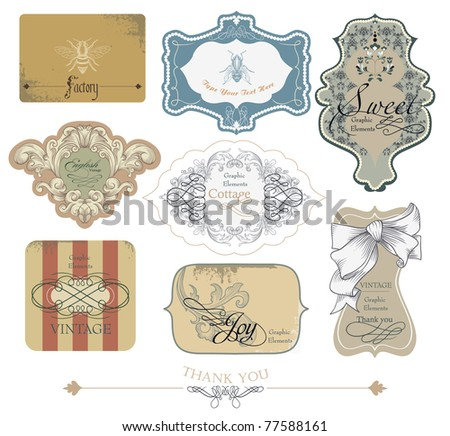 vector set: framed labels - 8 items on different topics - stock vector