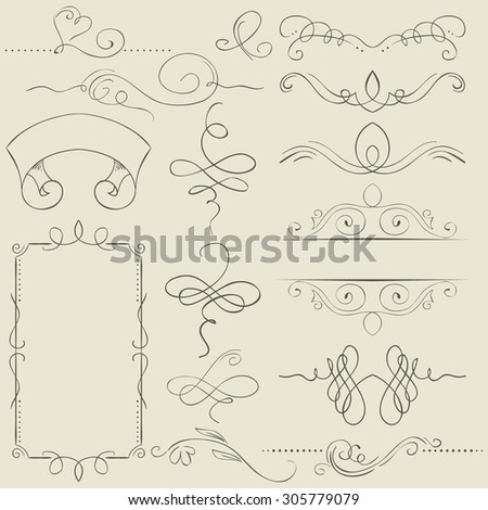 Vector set. Frames and borders. Hand drawing - stock vector