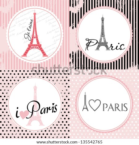 Vector Set French Card about love of Paris. Eiffel Tower consist of ornament. Different Background - stock vector