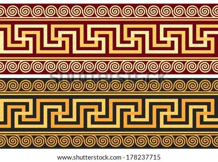 Vector set frieze with vintage golden Greek ornament (Meander) and floral pattern - stock vector