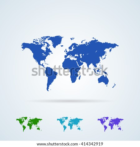Vector Set from Colorful World Map Icons. Planet Earth. World Map Symbol Flat Icon.  - stock vector
