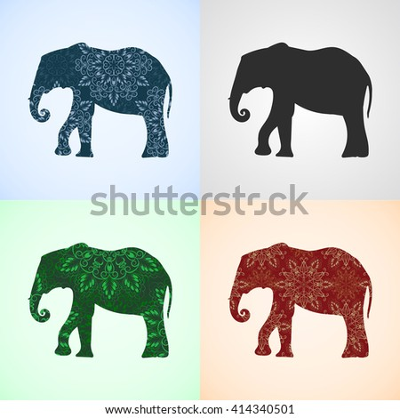 Vector Set from Elephant with Mandala Patterns, Elements for logo, banners, flyers, posters, printing on T-shirts. Three different mandala patterns are in swatches panel. Elephant shape. - stock vector