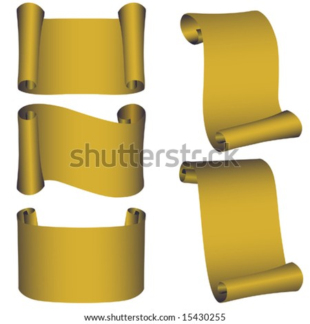 Vector.Set from five gold banners - stock vector
