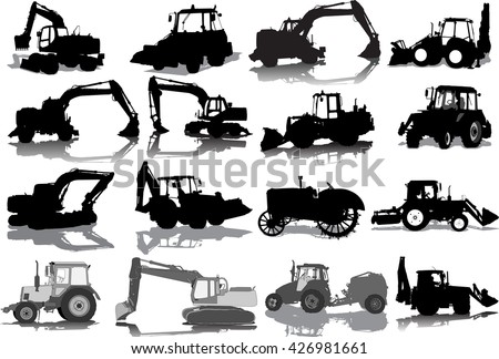 Vector set from silhouettes of 16 tractors - stock vector
