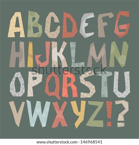 Vector set - funky alphabet - stock vector