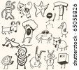 VECTOR SET - Funny doodles - stock vector