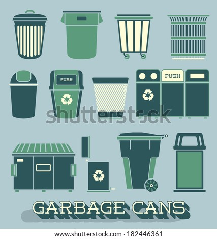Vector Set: Garbage and Recycling Cans - stock vector