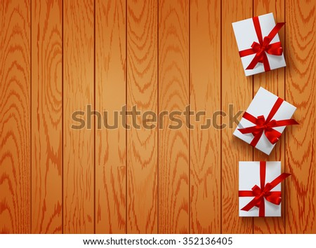 vector set gift box on wooden background. Color gift collection boxes with bows and ribbons - stock vector