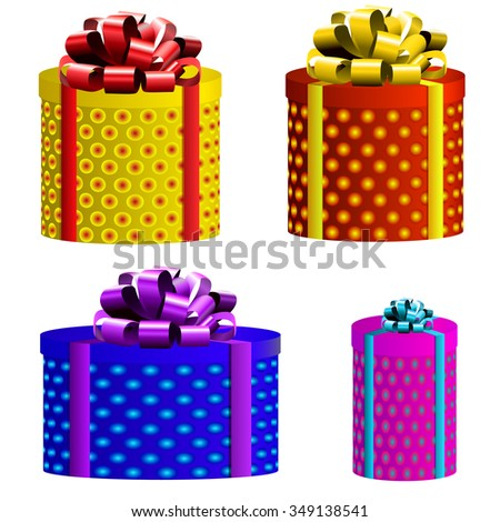 Vector set. Gift boxes. Different colors. Yellow, red, blue and magenta boxes - stock vector
