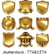 Vector set gold framed labels - stock vector