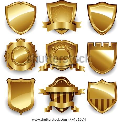 Vector set gold framed labels - stock vector