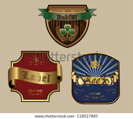 vector set:  gold-framed labels with ribbons - stock vector