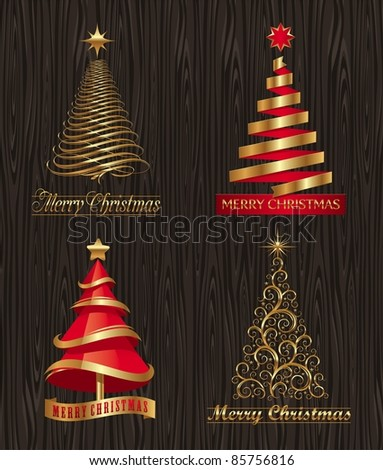 Vector set - golden decorative Christmas trees - stock vector