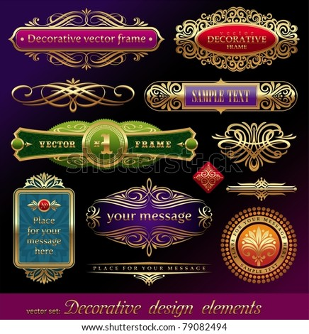 Vector set - golden ornate page decor elements:  banners, frames, dividers, ornaments and patterns on dark background - stock vector