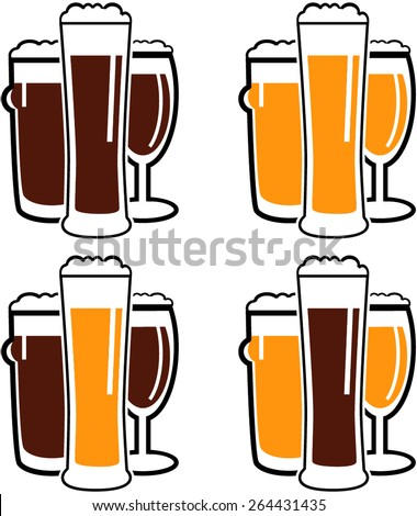vector set group of three glasses with dark and light beer on white background - stock vector