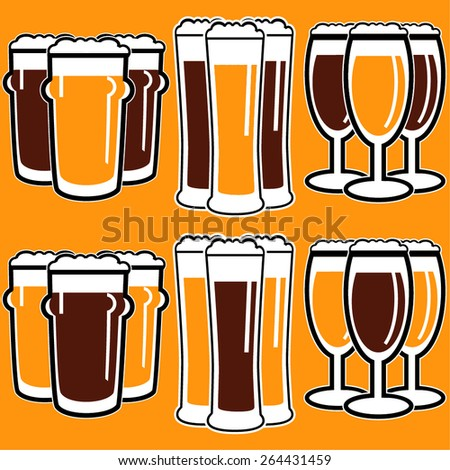 vector set group of three glasses with dark and light beer on yellow background - stock vector